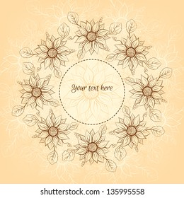 Banner with flowers and place for your text in vector.
