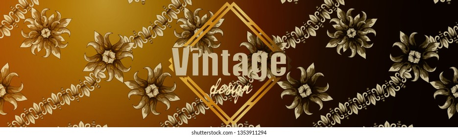 Banner of flowers in vintage style.