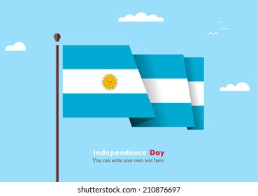 Banner fluttering in the wind on a background of clouds. Flat design. Standard on the flagpole. Blue sky. Independence Day.  Vector. Image. Illustration. Picture. Country. National.  Flag of Argentina