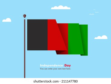 Banner fluttering in the wind on a background of clouds. Flat design. Standard on the flagpole. Blue sky. Independence Day. Stock vector. Icon. Image. Illustration. Picture. Flag of Afghanistan