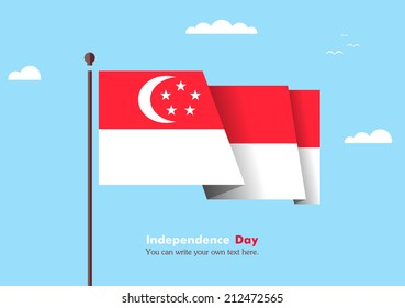 Banner fluttering in the wind on a background of clouds. Flat design. Standard on the flagpole. Blue sky. Independence Day. Stock vector. Icon. Image. Illustration. Picture. Flag of Singapore