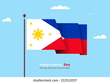 Banner fluttering in the wind on a background of clouds. Flat design. Standard on the flagpole. Blue sky. Independence Day. Stock vector. Icon.  Illustration. Picture. The flag of the Philippines