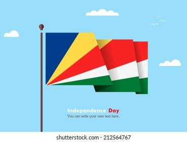 Banner fluttering in the wind on a background of clouds. Flat design. Standard on the flagpole. Blue sky. Independence Day. Stock vector. Icon. Image. Illustration. Picture. Flag of Seychelles