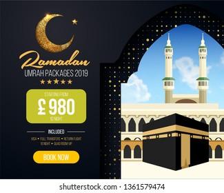 Banner or flyer design for Umrah Packages Ads, book cheap Ramadan umrah packages 2019. Umrah & Hajj Flyer Template. Vector