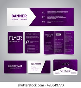 Banner, flyers, brochure, business cards, gift card design templates set with geometric triangular purple background. Corporate Identity set, Advertising, promotion printing
