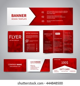 Similar images stock photos vectors of design flyers banners banner flyers brochure business cards gift card design templates set with red geometric background colourmoves
