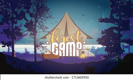 Banner of the forest camp. Tent in the night forest. Forest, bonfire, logs, ax, tent, river, trees. Vector illustration.
