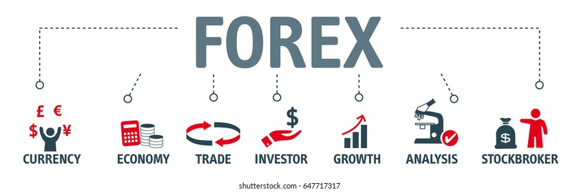 Banner forex. Vector illustration with keywords and icons