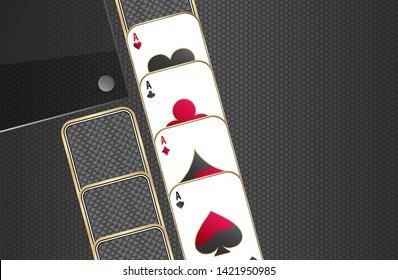 Banner with four aces.Playing cards on a metallic background.Set of casino elements