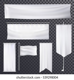 Banner frame or poster background template. Empty billboard or placard design, roll-up or show up, retail board, blank waving flag and exhibition hanging stand. Advertisement backdrop, trade theme