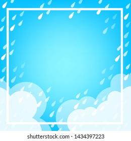 banner frame rain fall background for rainy season sale off, monsoon banner template frame for offer discount sale, cute rainy season template banner for summer sale