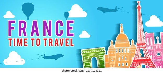 banner of France famous landmark silhouette colorful style,plane and balloon fly around with cloud,vector illustration