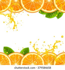 banner with fresh oranges and leaves