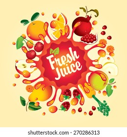 Banner with fruit, and splashes fresh juice