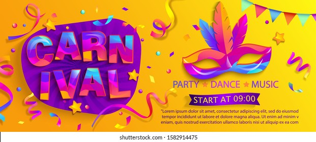 Banner for fun carnival party. Traditional mask with feathers and confetti for carnival, mardi gras, festival, masquerade, parade.Template for design invitation, flyer poster, banners. Vector illustration.