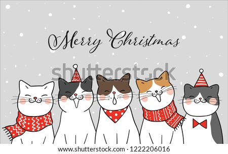 Banner Funny Cat Christmas Day Snow Draw Stock Vector (Royalty Free ...
