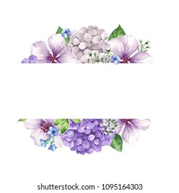 Banner with garden flowers and leaves isolated on white background. Floral bouquet in watercolor style. Template for wedding invitation, banner. Design for greetitng cards. Art vector illustration.