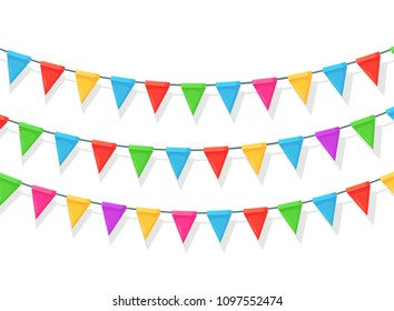 Banner with garland of colour festival flags and ribbons, bunting isolated on white background. Celebrate happy birthday party, carnaval, fair. Vector flat design