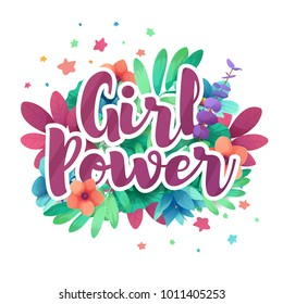 Banner with girl and women power text. Design feminist poster with flower decoration.  Symbol for Feminism concept. Vector