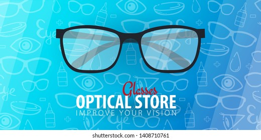 Banner for Glasses Clinic or Optical Store with eye glasses. Hand drawn doodle background