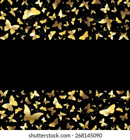 banner with gold butterflies on a black background
