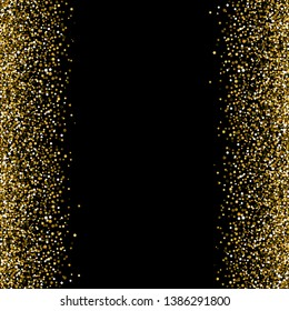 Banner with gold sequins. Right and left.. Vector illustration. Black background