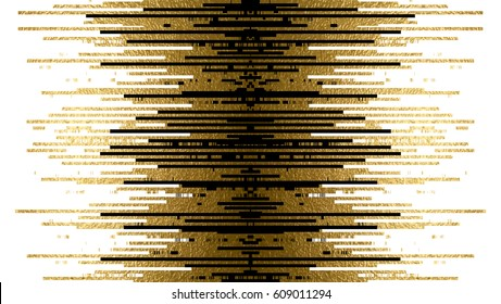 Banner with gold texture and black lines decoration on the white background.