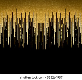 Banner with gold texture lines decoration on the black background. Horizontal seamless pattern.
