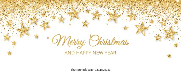 Banner with golden decoration. Festive border with falling glitter dust and stars. Holiday vector background. For Christmas and New Year cards, headers, party posters.