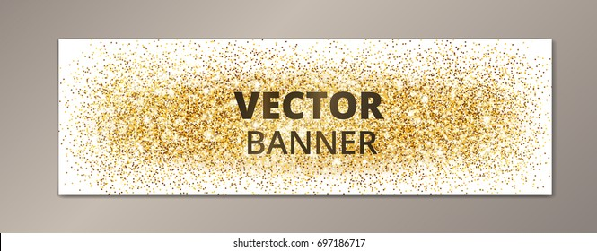 Banner with golden glitter explosion. Sparkles on white background, vector dust. Great for Christmas and New Year, birthday and wedding party invitations, club flyers, website headers.