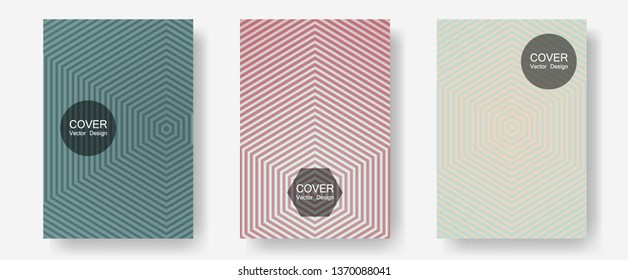 Banner graphics cool vector templates set. Hipster placards. Halftone lines annual report templates. Music album adverts. Abstract banners graphic design with lined shapes.
