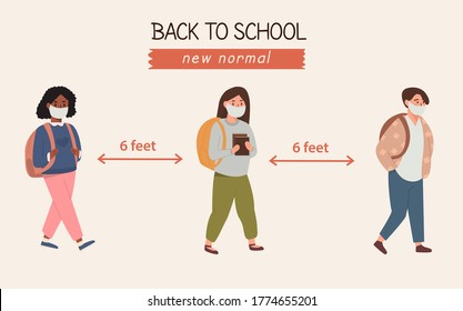 Banner group of modern kids different race in protective masks with backpacks walking keeping social distance. Primary school pupils during coronavirus pandemic. Flat vector cartoon illustration.