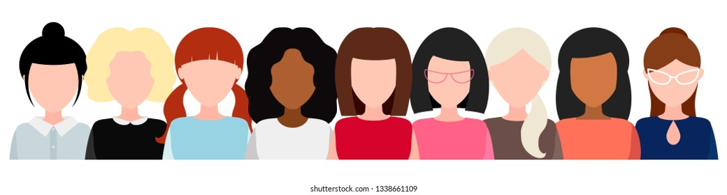 Banner with group of women without face, social movement, empowerment of women. The concept of feminism, power girls. Vector illustration.  Women's team together.