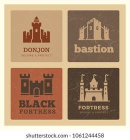 Banner with grunge castles, fortress, bastion label design. Medieval logos set. Vector illustration