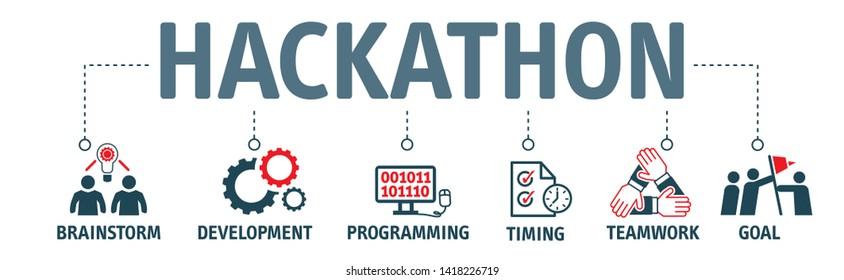 Banner Hackathon design sprint-like event - Vector Illustration Concept with keywords and icons