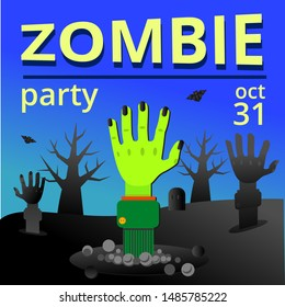 Banner for Halloween Zombie party. Sinister Green hand sticking out of the ground, tombstone, tree silhouettes and arm. Vector illustration for poster, sticker, flyer, invitation.