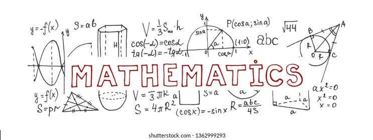 Banner with hand drawn mathematics formules and other elemets. Science collection. Vector doodlle illustration