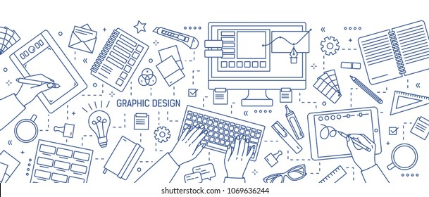Banner with hands of designer working in digital editor or drawing on tablet, stationery and art tools drawn with blue lines on white background. Graphic design. Vector illustration in lineart style.