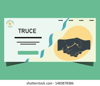Banner with handshake truce. Peace concept. Flat cartoon style. Vector illustration.