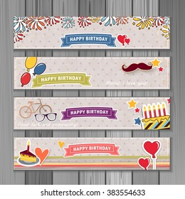 Banner happy birthday vector illustration. You can use it for events, invitation, banner, brochure, brochures. Illustration composed of cake,  balloons, ribbons, fireworks, heart. Cartoon style