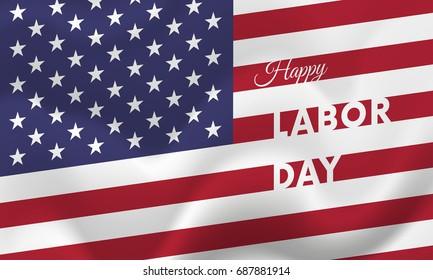 Banner Happy Labor Day. Banner. USA flag. Vector illustration.
