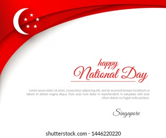 Banner Happy National Day Singapore Curved pattern red lines on a white background Patriotic celebration background for Independence Day National Day 9 august Theme Singapore flag national sign Vector