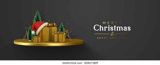 Сhristmas banner. Happy New Year background. Xmas composition golden podium with fluffy pine tree and fir trees, gold 3d gifts boxes, shiny tinsel confetti. Winter greeting desing. vector illustration