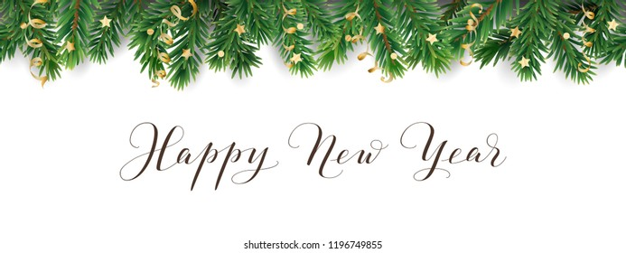 Banner with Happy New Year calligraphy. Seamless vector decoration on white. Christmas illustration, winter holiday background. Christmas tree frame, garland. Border for party poster, header