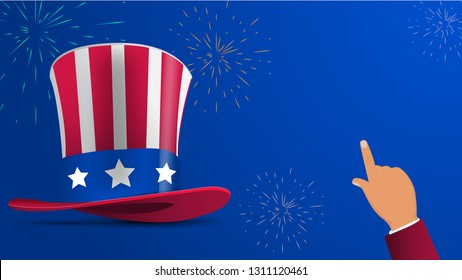 Banner with hat and pointing hand with empty space. Design for the feast of President's Day and Independence Day in USA. Greeting card, sale banner, wallpaper, poster, invitation. Vector illustration