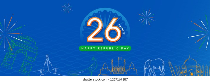Banner or header design with illustration of Indian famous monuments and national bird in line art on blue abstract background for 26 January Republic Day celebration.