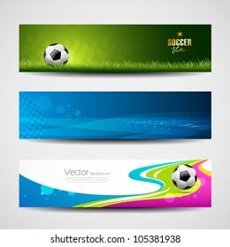 Banner headers soccer ball set design background, vector illustration