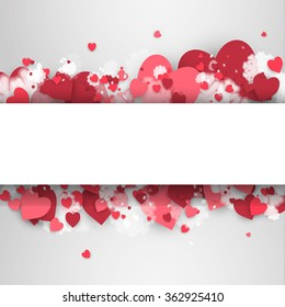 Banner with hearts to the Day of St. Valentine on the light-grey background. Stock vector.