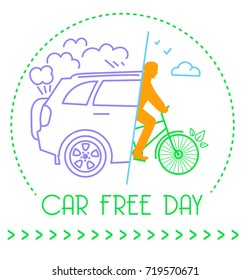 banner of the holiday - car free day. Icon in the linear style