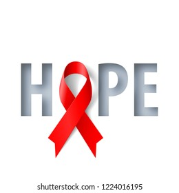 Banner with Hope Lettering and Symbol of Aids Awareness Realistic Red Ribbon. World AIDS Day Concept on Red Background. Design Template for Info-graphics, Advertising or Websites Magazines